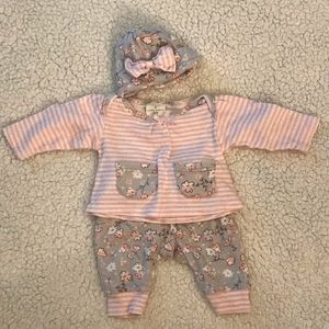 0-3 month Laura Ashley outfit with hat